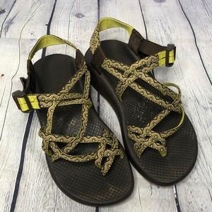 Chaco Lime Green & Brown Classic Sandals Women's 8